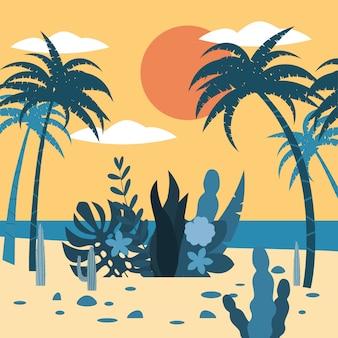 Gestalten sie exotische floraanlagen der sonnenuntergangtropen, palmen, blätter landschaftlich