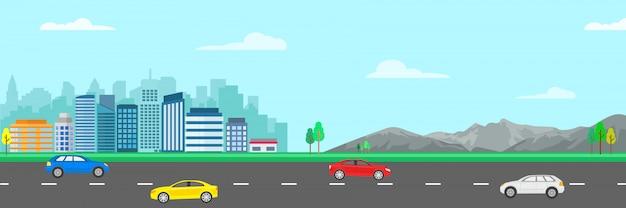 Gestalten sie moderne illustration der stadt mit gebäude, berg, straße, bäumen und autos landschaftlich