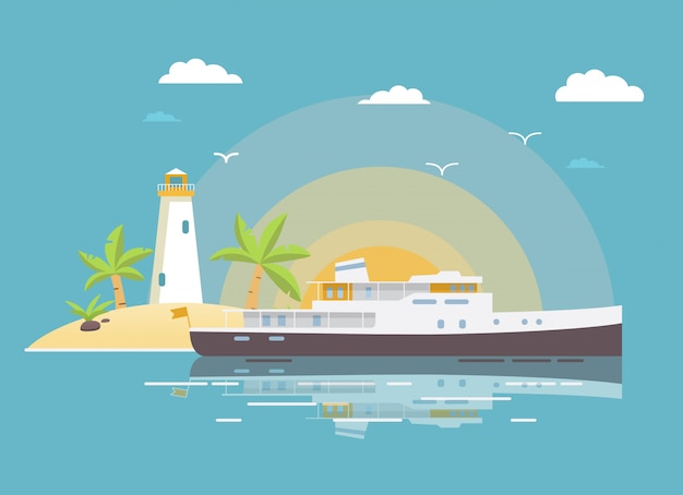 Gestalten sie tropisch mit dem sandigen küstenstrand der yachtschiffsinsel und dem palmeleuchtturm der sonne landschaftlich.