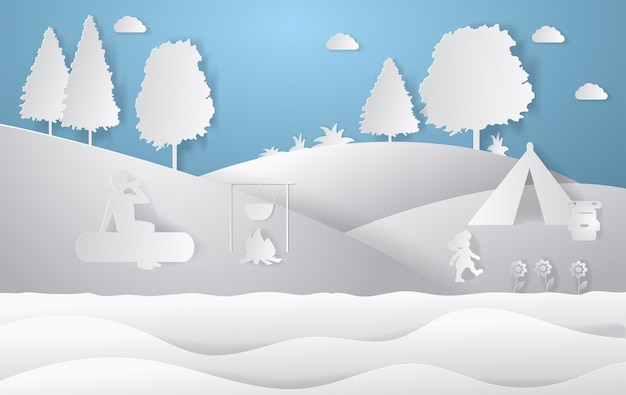 Gestaltung der naturlandschaft. farbenfroher scherenschnitt-stil. camping-vektor-illustration.