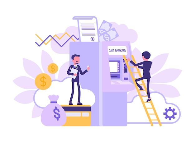 Gestaltung von bankgeschäften und finanzinstituten. männliche bankbeamte, die in der abteilung arbeiten, leiter zum geldautomaten, riesiges geld, karten- und dollarsymbole. vektorillustration, gesichtslose charaktere