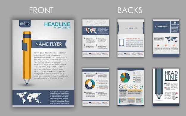 Gestaltung von flyern, broschüren und broschüren mit elementen von infografiken und einem bleistift. einstellen