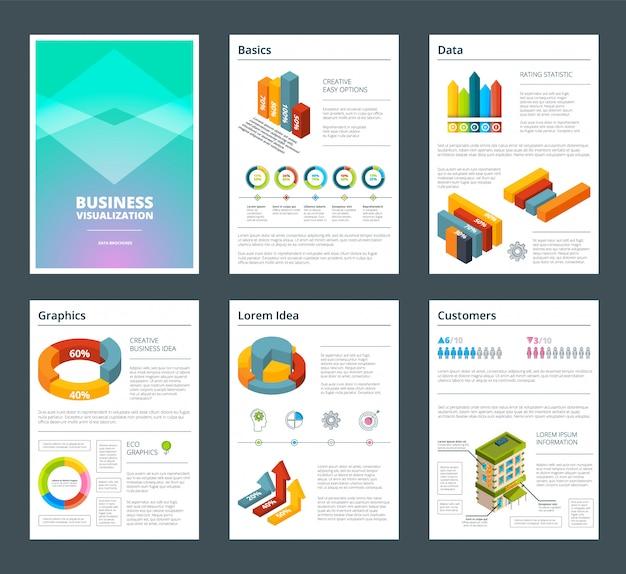 Gestaltung von geschäftsberichten mit farbigen abbildungen von diagrammen. geschäftsbericht vorlage mit grafik und diagramm