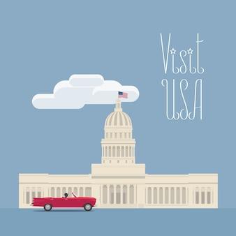 Gestaltungselement mit dem wahrzeichen des amerikanischen kongresses für das konzept der reise nach amerika