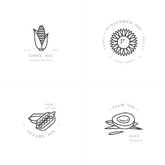 Gestaltungselement und ikone im linearen stil - rapsöl - gesundes veganes essen.