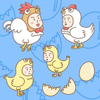 Gestaltungselemente der niedlichen zeichentrickfiguren in hühnermaskottchen.
