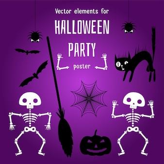 Gestaltungselemente für happy halloween-poster. logos, abzeichen beschriften symbole und objekte.