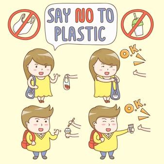 Gestaltungselementvektor von netten zeichentrickfilm-figuren lehnen ab, den plastikbehälter zu benutzen.