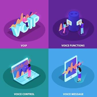 Gestaltungskonzeptsatz der sprachsteuerung 2x2 quadratische ikonen, die moderne geräte mit funktionen der spracherkennung und der voip-kommunikation isometrisch demonstrieren