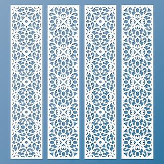 Gestanzte und lasergeschnittene dekorative spitzenrandmuster. satz von lesezeichenvorlagen.