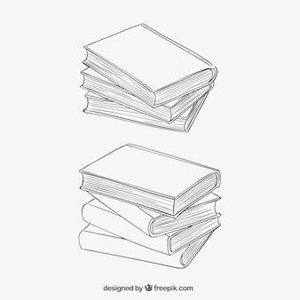 Gestapelte bücher in skizzenhaften stil