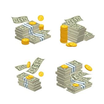 Gestapeltes bargeld auf weiß