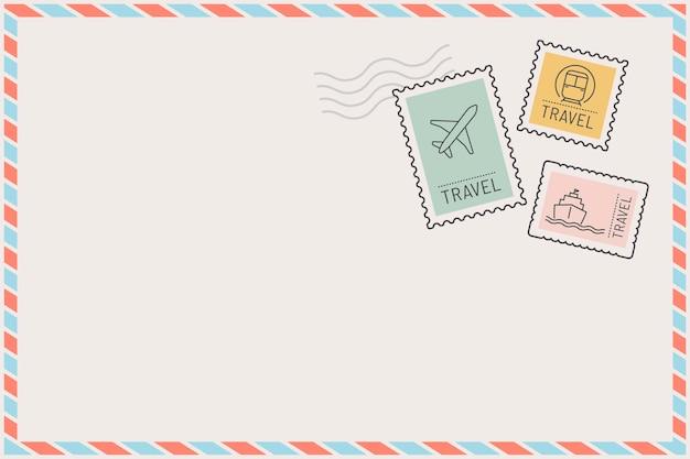 Gestempelter postkartenrahmen mit reisethema