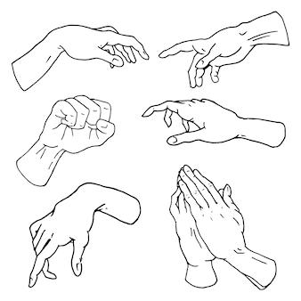 Gesten arme stoppen, handfläche, daumen hoch, fingerzeiger, ok, wie und beten oder händedruck, faust und frieden oder rock'n'roll.