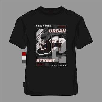 Gestreifte abstrakte typografiegrafik der stadtstraße von new york city für t-shirt