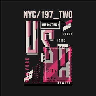 Gestreifte grafische typografie-vektorillustration der nyc usa