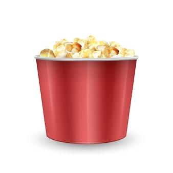 Gestreifte kartonschale gefüllt mit popcorn, beutel voll popcorn. realistische illustration,