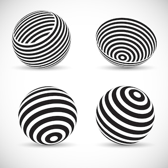 Gestreifte kugelförmige designs