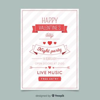 Gestreifte valentinstag party poster vorlage