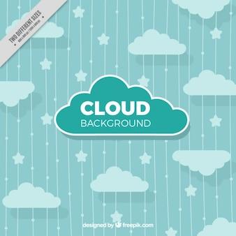 Gestreiften hintergrund mit sternen und wolken