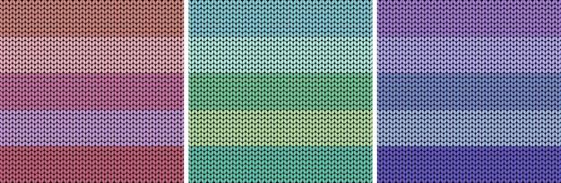 Gestreifter bunter heller stoffbeschaffenheitssatz gestrickter musterhintergrund vektor