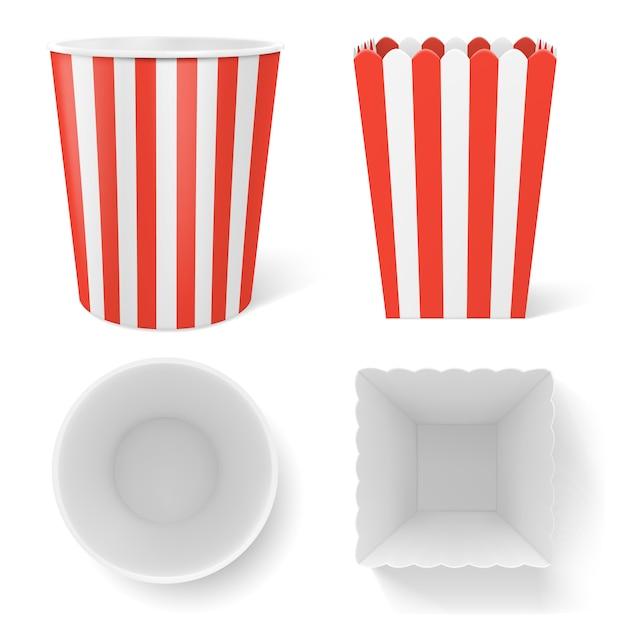 Gestreifter eimer für popcorn, hühnerflügel oder beinpackung