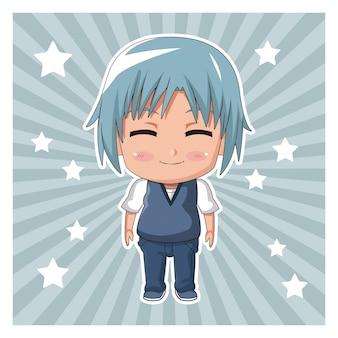 Gestreifter farbhintergrund mit sternen und nettem animejugendlichgesichtsausdrucklächeln