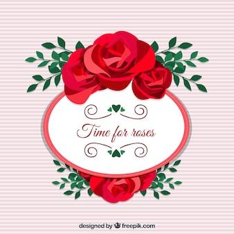 Gestreifter hintergrund mit rosen dekoration