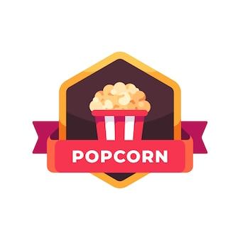 Gestreifter popcorn-eimer. fast-food-etikett