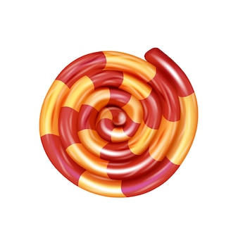 Gestreiftes aufgerolltes karamell. baby-süßigkeiten. natürliche süßigkeit lokalisiert