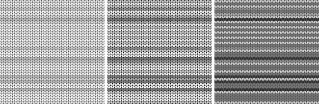 Gestreiftes graues helles gewebebeschaffenheitsset. gestrickter musterhintergrund. vektor-illustration