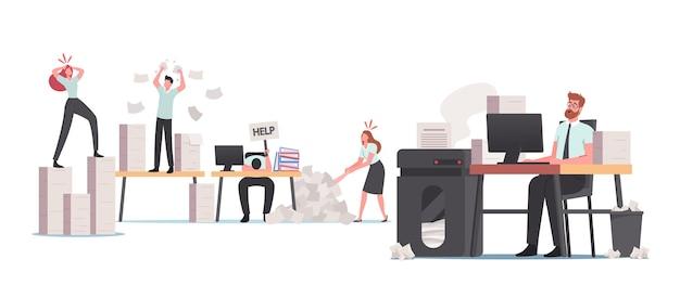 Gestresste büroangestellte in papiermüll, charakterbürokratie, beschäftigte mitarbeiter deadline rush, burnout. winzige angestellte bei riesigen dokumentationsstapeln und heap-dokumentenordnern. cartoon-vektor-illustration