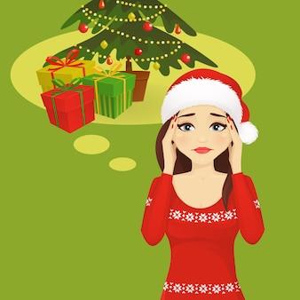 Gestresste feiertagsfrauen-vektorillustration