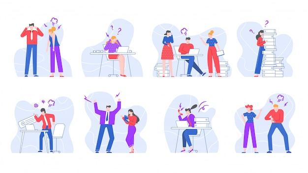 Gestresste geschäftsleute. schreiende und schreiende büroangestellte, schwörende zeichen im illustrationssatz der büroumgebung. konflikte am arbeitsplatz, streitigkeiten und streit am arbeitsplatz