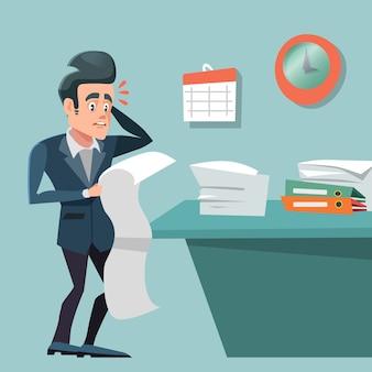 Gestresster beschäftigter geschäftsmann mit langer to-do-liste. überstunden bei der arbeit.