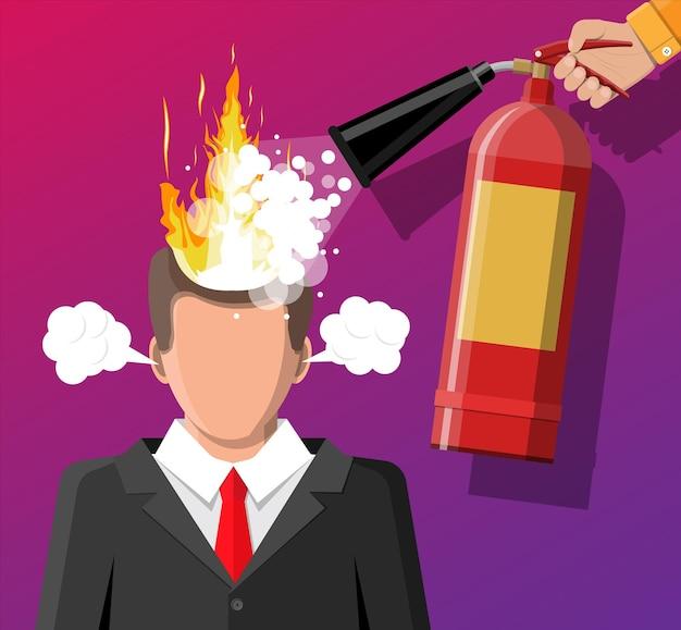 Gestresster geschäftsmann mit brennenden haaren bekommt hilfe von mann mit feuerlöscher. überarbeiteter mann mit brennendem gehirn, verbrannt von der arbeit. emotionaler stress. mann im anzug mit brennendem kopf.