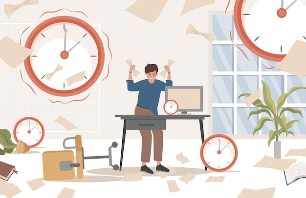 Gestresster mann, der im unordentlichen büro mit dokumenten steht
