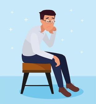 Gestresster mitarbeiter auf einem stuhl tritt zurück oder ist arbeitslos