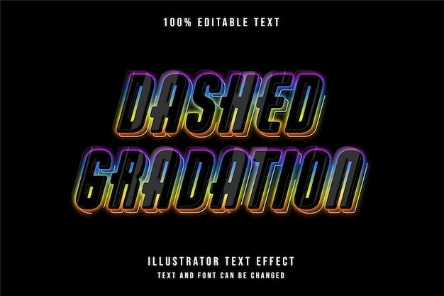 Gestrichelte abstufung, 3d bearbeitbarer texteffekt lila abstufung blau gelb orange neon-stil-effekt