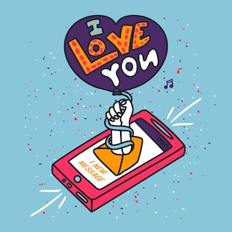 Gestrichenes telefon mit text ich liebe dich