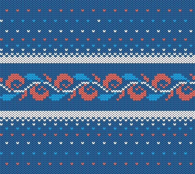 Gestrickte blaue textur. nahtloses weihnachtsmuster.
