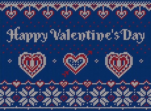 Gestrickte elemente und bordüren zum valentinstag