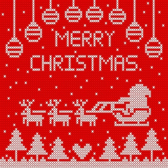 Gestrickte frohe weihnachten auf rotem hintergrunddesign.