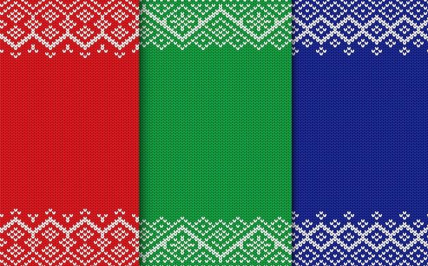 Gestrickte geometrische weihnachtshintergründe. satz der drei farbnahtlosen verzierung.