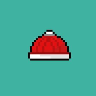 Gestrickte rote mütze im pixel-art-stil