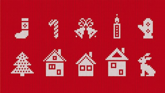 Gestrickte weihnachtselemente. vektor-illustration. hässlicher nahtloser weihnachtsdruck.