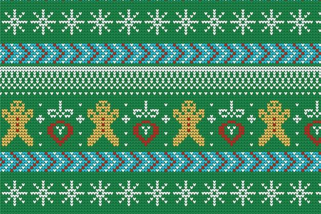Gestrickte weihnachtsmusterdekoration