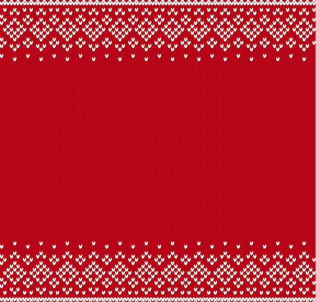 Gestrickter strukturierter hintergrund mit leerem platz für text. stricken sie geometrisches ornament-strickmuster für einen pullover im fairen inselstil. illustration.