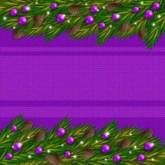 Gestrickter violetter weihnachtshintergrund