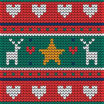 Gestrickter weihnachtsmusterhintergrund